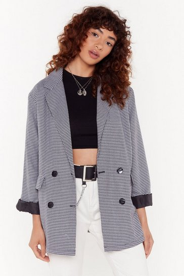 Womens Black Checked Oversized Boyfriend Blazer