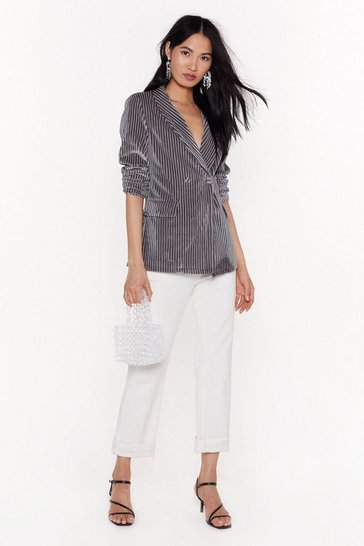 Womens Silver grey Say It Stripe Velvet Striped Blazer