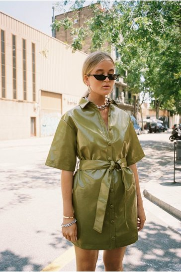 Womens Olive Vinyl Countdown Mini Shirt Dress