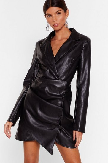 Womens Black Touch Me Faux Leather Blazer Dress