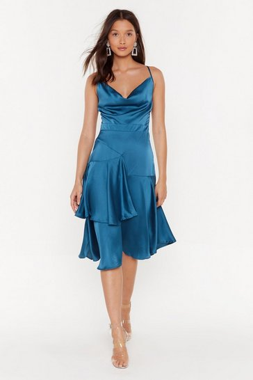 Teal Cowlin' the Shots Satin Midi Dress