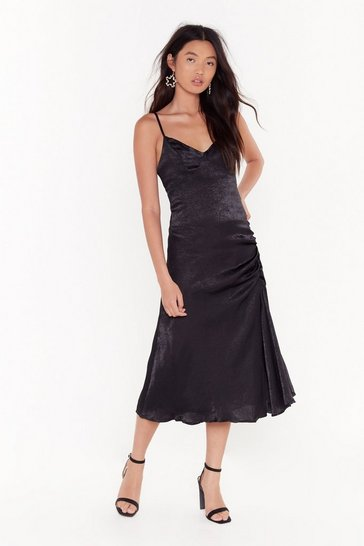 Womens Black City Slicker Satin Midi Dress