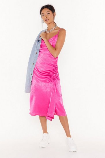 Hot pink City Slicker Satin Midi Dress