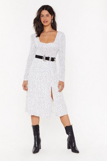 Womens White You're Kinda Polka Dot Midi Dress`