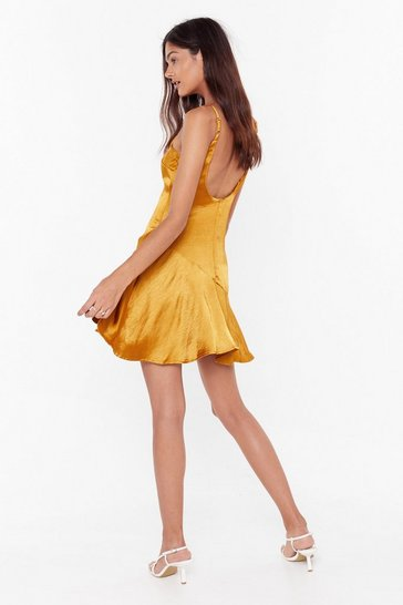 Womens Mustard So Vain Satin Dress