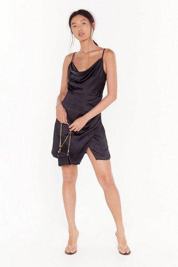 Black Don't Cowl Me Angel Satin Wrap Dress