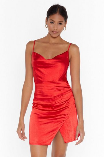 Red Don't Cowl Me Angel Satin Wrap Dress