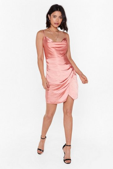 Womens Rose Don't Cowl Me Angel Satin Wrap Dress