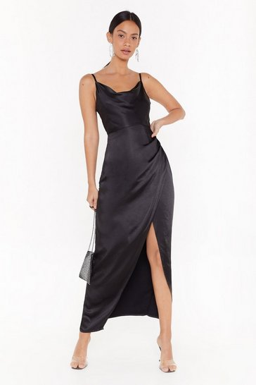 Womens Black Cowl Play Satin Maxi Dress
