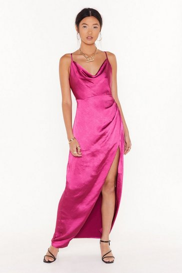 Womens Hot pink Cowl Play Satin Maxi Dress