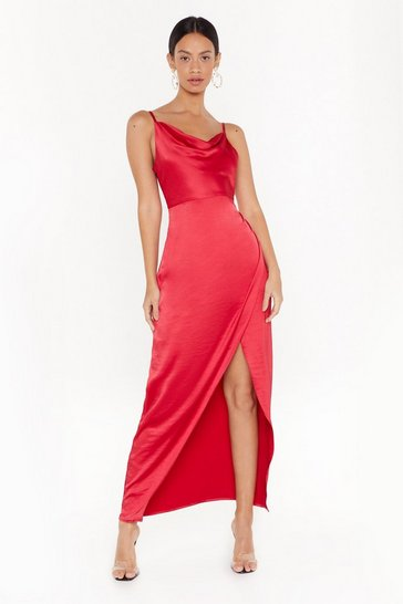 Womens Red Cowl Play Satin Maxi Dress