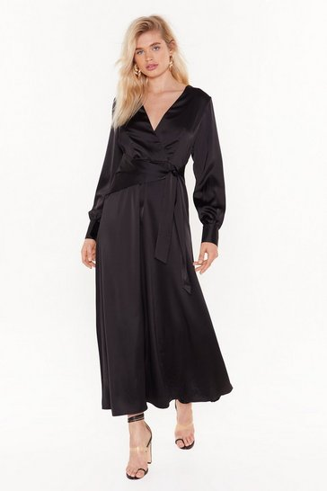 Womens Black Tonight's the Night Satin Maxi Dress