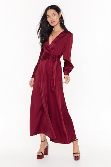 Womens Burgundy Tonight's the Night Satin Maxi Dress