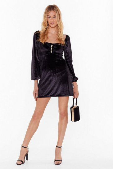 Womens Black Soft on the Outside Velvet Mini Dress