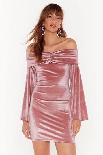 Rose So Touchy Velvet Off-the-Shoulder Mini Dress