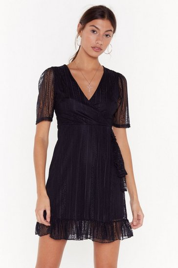 Black Vintage Lace Wrap Skater Dress