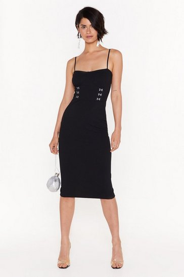 Womens Black My Kind of Hook and Eye Cupped Midi Dress
