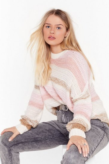 Womens Beige Know Your Stripe Plus Knit Jumper