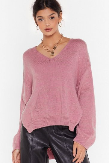 Womens Rose When Tomorrow Knits V-Neck Sweater
