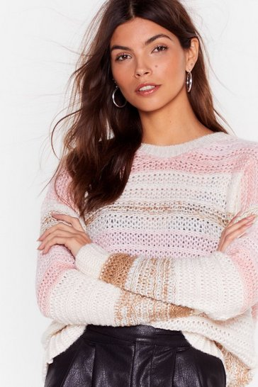 Beige Know Your Stripe Relaxed Knit Sweater