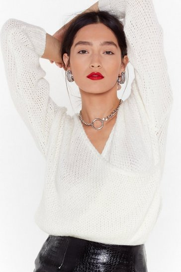 Womens Ecru Wrap into Yourself Knit Sweater
