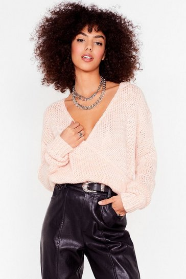 Womens Soft pink Wrap into Yourself Knit Sweater