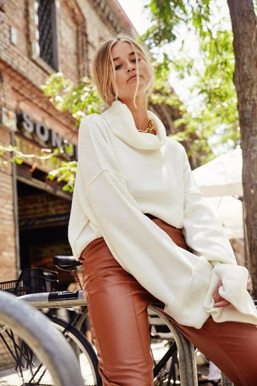 Cream Sleeve Found Love Turtleneck Sweater