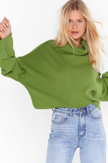 Womens Olive Sleeve Found Love Turtleneck Sweater
