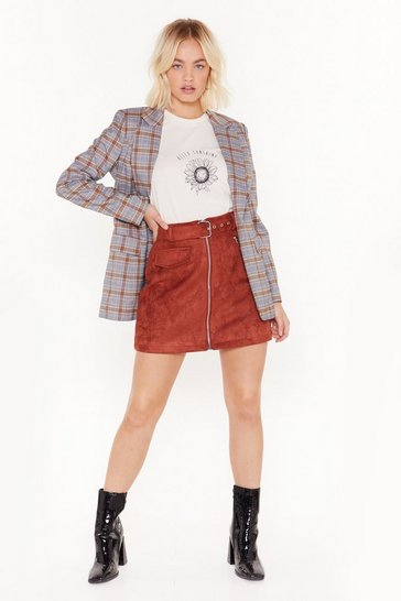 Womens Rust Buckle It in Faux Suede Mini Skirt