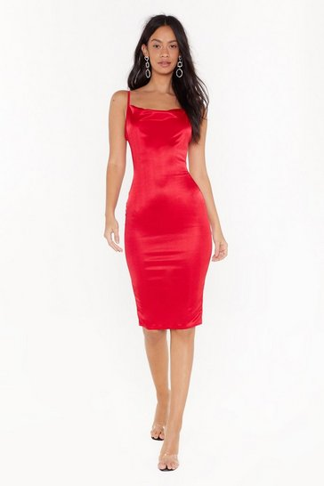 Red Late Night Feelings Satin Midi Dress