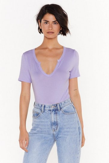 Womens Lilac It's Notch Over Bodysuit