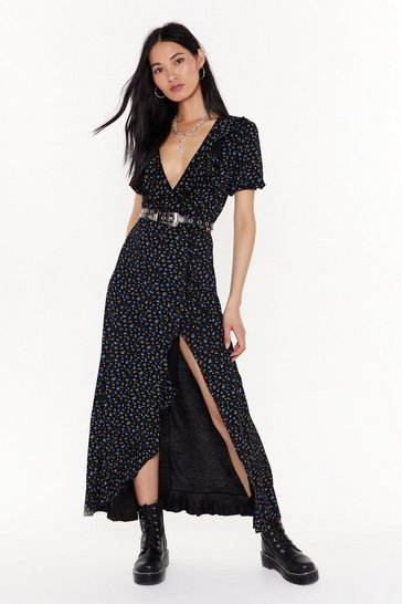 Womens Black We're Rootin' for You Floral Maxi Dress