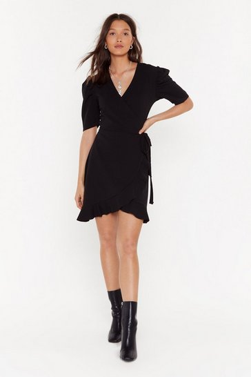 Womens Black Wrap Out of It Crepe Mini Dress