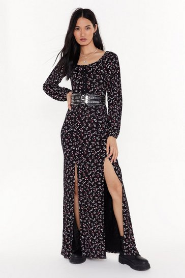 Womens Black Plant Help Falling in Love Hook and Eye Maxi Dress
