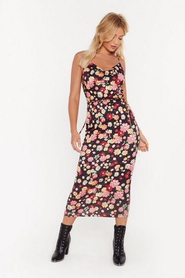 Womens Black Cowl About Now Floral Midi Dress