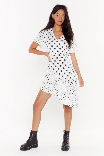Womens White Let's Play Dot to Dot Wrap Midi Dress