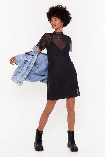Black Nothing More Nothing Mesh High Neck Mini Dress