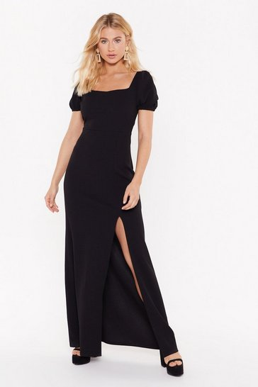 Womens Black Split 'Em Up Square Neck Midi Dress