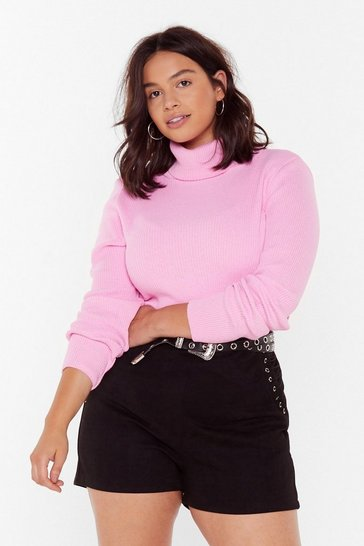 Womens Pastel pink The Winner Takes Knit All Plus Turtleneck Sweater