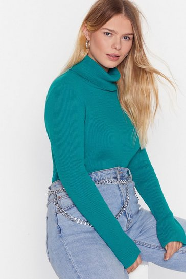 Womens Teal Roll With Knit Plus Ribbed Turtleneck Jumper