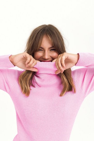 Womens Pastel pink Takes Knit All Turtleneck Sweater
