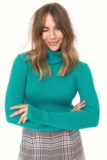 Womens Teal The Winner Takes Knit All Turtleneck Sweater