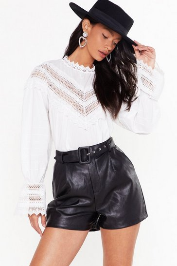 Black Faux Leather They Like It or Not High-Waisted Shorts