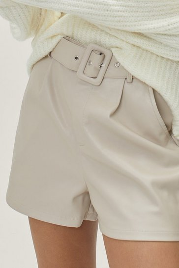 Ecru Faux Leather They Like It or Not High-Waisted Shorts