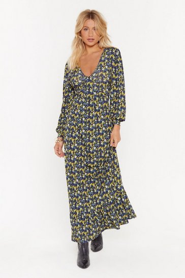Womens Navy What's the Twist Floral Maxi Dress