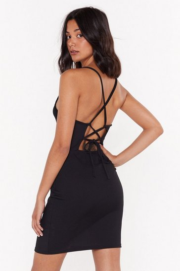 Womens Black Crossed the Line Strappy Mini Dress