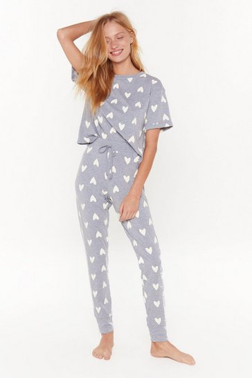 Womens Grey We Heart Our Bed Tee Pajama Set