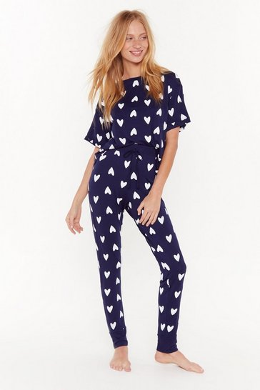 Womens Navy We Heart Our Bed Tee Pajama Set