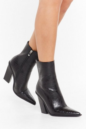 Black Crocodile Tears Faux Leather Ankle Boots
