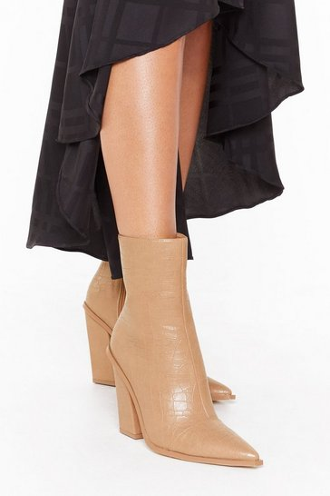 Nude Croc Embossed Pointed Heeled Boots